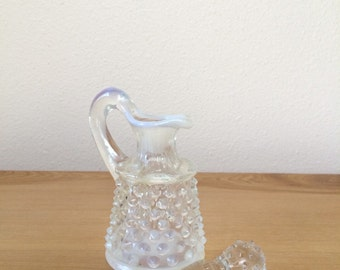 Oil Cruet - Hobnail Opalescent Moonstone by Anchor Hocking - Vintage French fire - one cruet