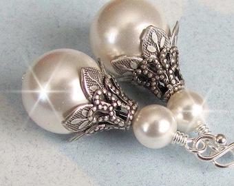 Bridal Pearl Earrings, Vintage Style Wedding Earrings, White, Ivory Pearl Wedding Jewelry, Bridal Jewelry Bridesmaids Earrings Antique Style