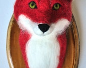 Fox Mount - Faux Taxidermy Needle Felted Wall Hanging - Home Decor