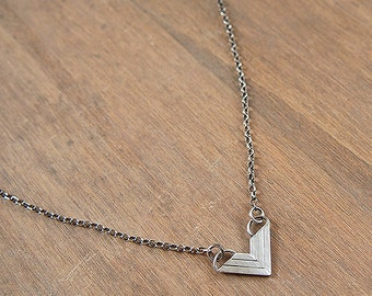 Small, recycled silver, v-shaped chevron necklace - Flying V Necklace