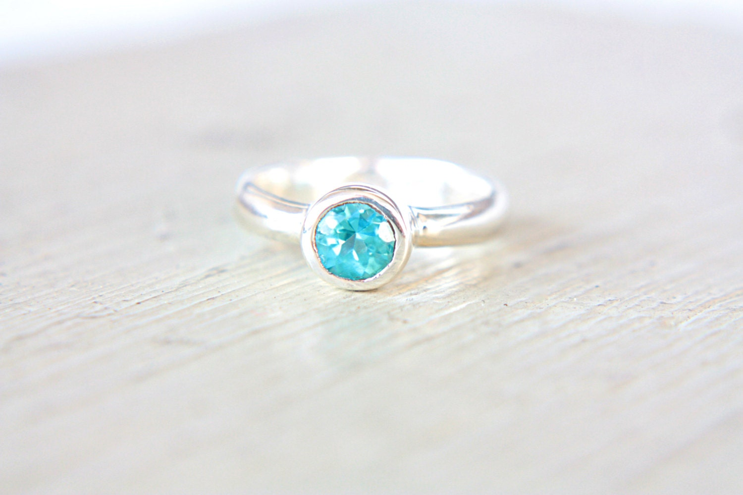 Apatite Ring Sterling Silver Neon Blue Turquoise Engagement