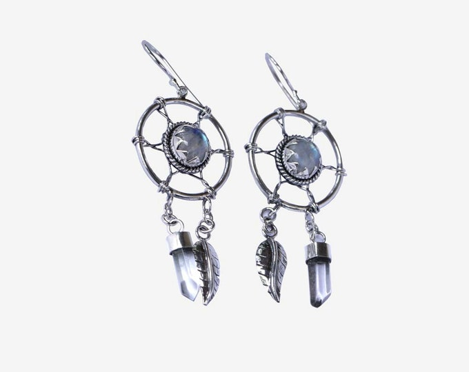 Moonstone, Silver Earrings, Bohemian, Dreamcatcher Earrings, Aztec Earrings, Arrow Dangle Earrings, Solid Sterling Silver, Gypsy, Statement