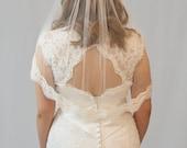 Couture bridal veil, lace edge veil, elbow length, Ava