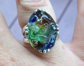 Rhode Island Crazed Bonfire Sea Glass with Resin Druzy Style 925 Sterling Silver Fleur de Lis Setting, Ring Size 7 or 8, Made to Order