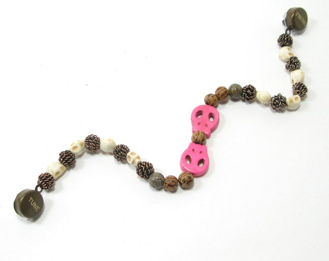 """SALE - Treble and Tune Pin Back Sweater Guard with Pink Skulls and Coconut Wood, Copper Wire, Skull, with Semi Precious Beads 9"""""""