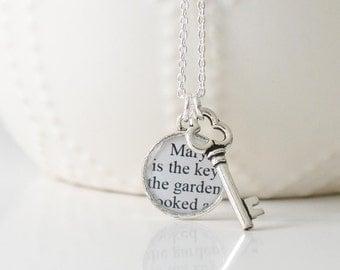 The Secret Garden – Silver Key Necklace – Secret Garden Necklace – Literary Jewelry – Secret Garden Jewelry – Book Lover Gifts