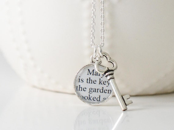 The Secret Garden – Silver Key Necklace – Secret Garden Necklace – Literary Jewelry – Secret Garden Jewelry – Book Lover Gifts