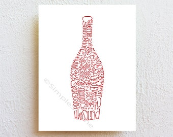Wine bottle decor kitchen art print, red wine dining room wall decor, bar decor bar sign, modern wine art, wine lover gift for her