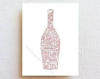 Wine bottle decor, Kitchen art print, red wine dining room wall decor, bar decor bar sign, modern wine art, wine lover gift for mom wall art