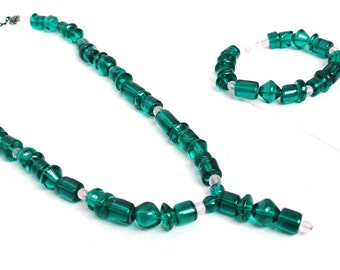 Teal Green & Light Pink Beaded Jewelry Set