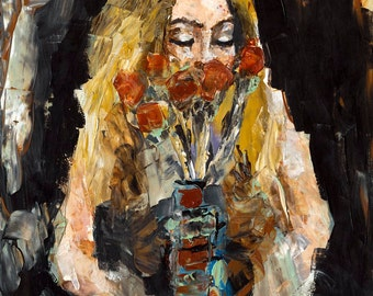 The Flowers | 16 x 20 art print, Modern Art, Abstract portrait painting, Fine Art Print, Britney Jette