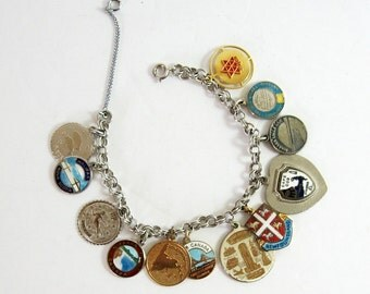 Vintage Sterling Silver Charm Bracelet - Double Link Chain - 12 Collectible Charms - Mid Century Estate Jewelry - Canada Souvenir Charms