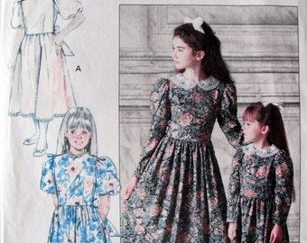 Vintage Girl's Below Mid Calf Dress, Dirndl  Skirt, Girls Sizes 7, 8 and 10, Uncut Circa 1989, Butterick 4405