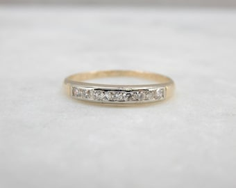 Beautiful Vintage Yellow And White Gold Diamond Wedding Band FMCDQ8-R