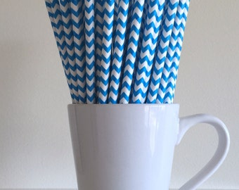 Blue Chevron Paper Straws Party Supplies Party Decor Bar Cart Cake Pop Sticks Mason Jar Straws Graduation