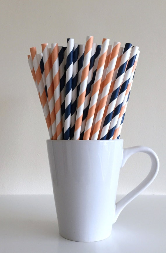 Peach and Navy Blue Striped Paper Straws Coral and Navy Party Supplies Party Decor Bar Cart Accessories Cake Pop Sticks Mason Jar Straws