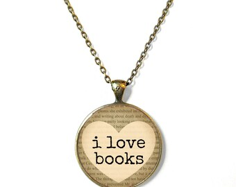 Tan I Love Books Necklace, Book Page Jewelry, Bookworm Necklace, Nerdy Book Jewelry, Geekery Literary Book Page Necklace, Book Lover Jewelry