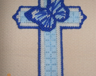 Butterfly on Cross Wall hanging in plastic canvas