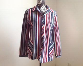 Navy and Red Polyester Striped Button-down Shirt