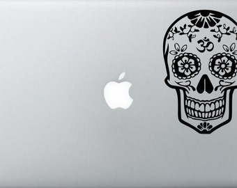 OM Sugar Skull Decal Sticker dia de los muertos laptop Decal macbook pro sticker apple macbook decal skin decor car window decal sticker 56