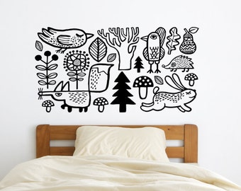 Woodland wall decal, Forest animals, kids room decor, Fox wall sticker, bird vinyl, forest wall sticker, nursery wall decal
