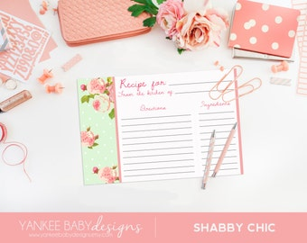 Shabby Chic - Green Polka Dot - Recipe Card