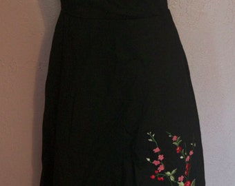 Vintage Black and Red Swing Rockabilly Prom Dress w/Crinoline Sz L