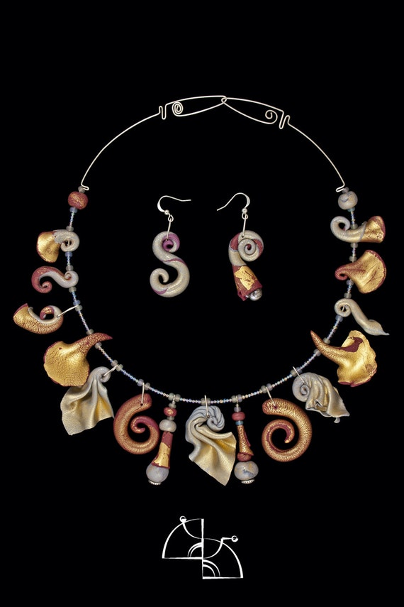 "Over the edge"". Jewelry Set. Unusual original design necklace and  earrings. all hand made. polymer clay."