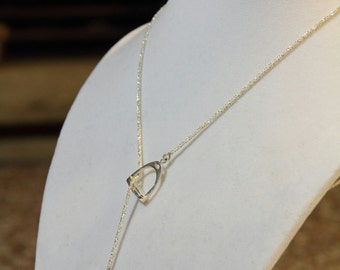 English Stirrup Lariat Necklace, Sterling Silver, Horse Jewellery