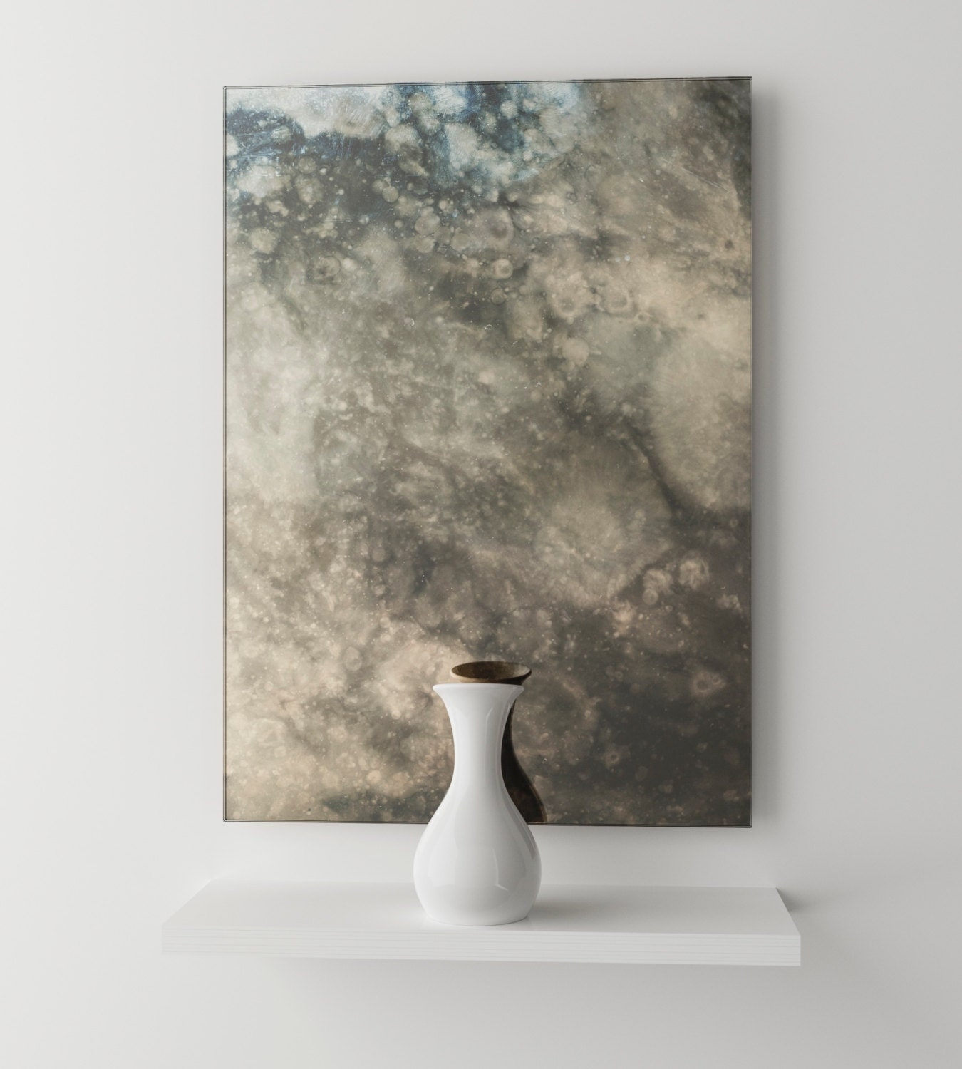 Dark Smoked Antiqued Mirror Interesting Cloudy Antiqued