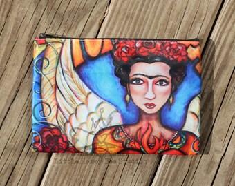 Frida Kahlo Bag, Frida Cosmetic Bag, Frida Makeup Bag, Mexican Folk Art, Zippered Pouch, Frida Pencil Bag, Whimsical Frida Bag, Frida Kahlo