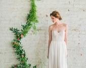 Boho Lace Wedding Dress, Ivory Silk Tulle Wedding Dress, Shimmery Wedding Gown, Modern Wedding Dress - Gigi Gown