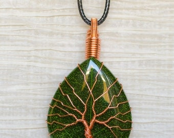 EARTH DAY RECYCLED Tree of Life wire wrapped Green Leaf Resin pendant Necklace