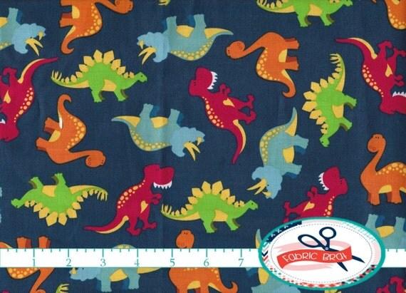 Dinosaur fabric by the yard fat quarter dino fabric navy blue for Baby dinosaur fabric
