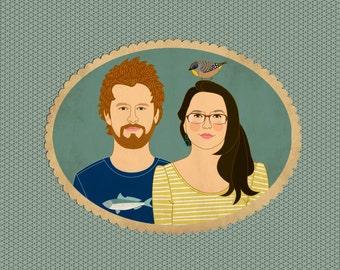 Custom Portrait Wedding Invitation and RSVP -Quirky Wedding Illustration - Couple's Portrait - Printable
