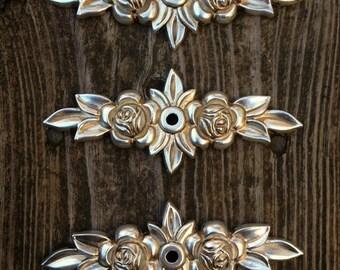Silver Rose Backplate Decorative Cottage Dresser Drawer Knob Backplate Antiqued Silver Floral Swag Backplate Dresser Hardware