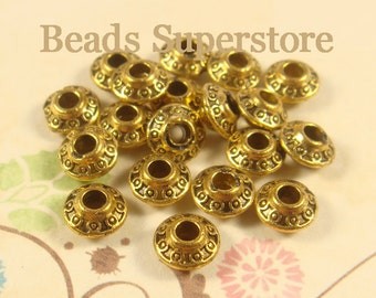 SALE 6 mm x 4 mm Antique Gold Spacer Bead - Nickel Free, Lead Free and Cadmium Free - 25 pcs
