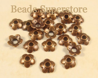 SALE 6.5 mm x 2 mm Antique Copper Flower Bead Cap - Nickel Free, Lead Free and Cadmium Free - 50 pcs