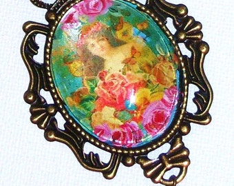 Boho Chic Necklace Hand Painted Vintage Style Colorful Romantic Victorian Jewelry