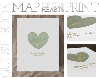 """16x20"""" Map of Our Hearts - Personalized Art Print/Signable Guest Book (UNFRAMED)"""