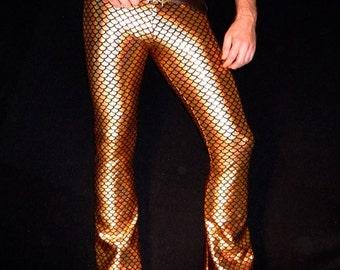 Disco Fish, Men's Flare Leggings // Meggings // Gold