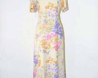 pastel floral long dress / vintage watercolor dress / 90s flowers midi dress / yellow rayon column dress