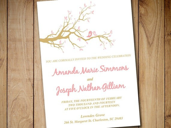 Love Birds Wedding Invitations: Love Bird Wedding Invitation Template By PaintTheDayDesigns