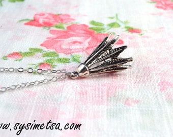 Badminton Necklace - Antique Silver Badminton Necklace - Badminton Pendant Necklace - Miniature Badminton Necklace - Nickel Free