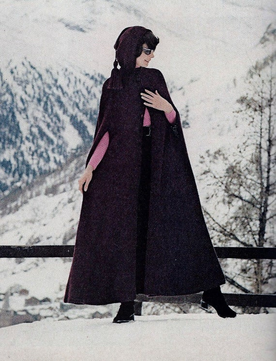 Retro Hooded Long Cape Pdf Crochet Pattern By Momentsintwine