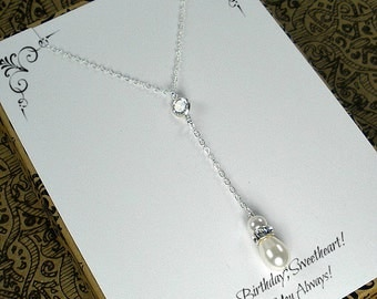 Birthday Gift for Her, Wife Birthday Gifts, Anniversary, Birthday Gift Idea, Wedding, Bridal, Bride necklace, Lariat, Pearl Y necklace