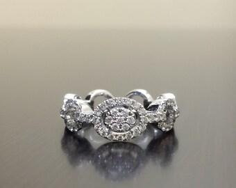 18K White Gold Diamond Engagement Ring - 18K Gold Diamond Wedding Ring - Pave Diamond Ring - Modern Diamond Ring - Diamond 18K Gold Ring