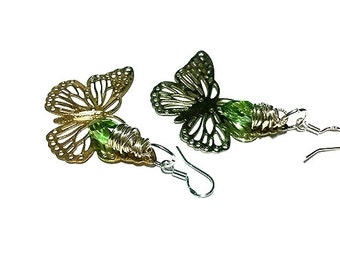 CLEARANCE SALE! Butterfly Earrings Swarovski Crystal Earrings Wire Wrapped Jewelry Wire Wrapped Briolettes Sterling Silver Earrings