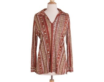 1970s Vintage Brown and Orange Batik Tunic, Retro 70s Loose Nylon Hippie Boho Print Blouse by Kolortron Medium Large