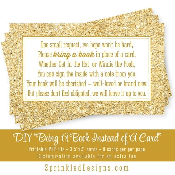 Satisfactory image within bring a book instead of a card printable